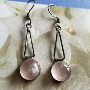 Rose Quartz and 925 Sterling Silver drop earrings